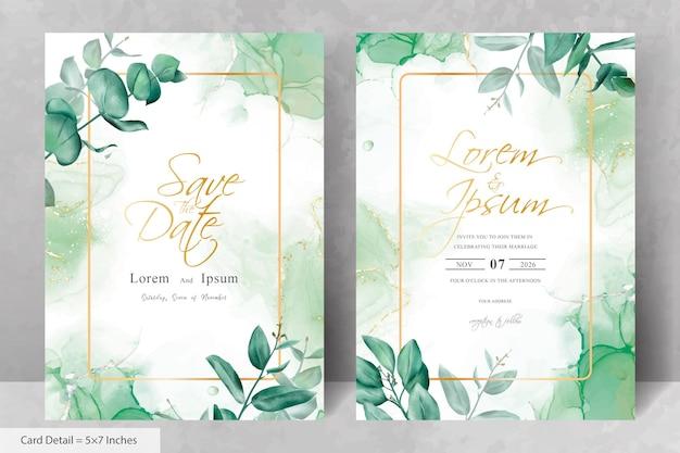 Set of elegant flower and eucalyptus frame wedding invitation card template