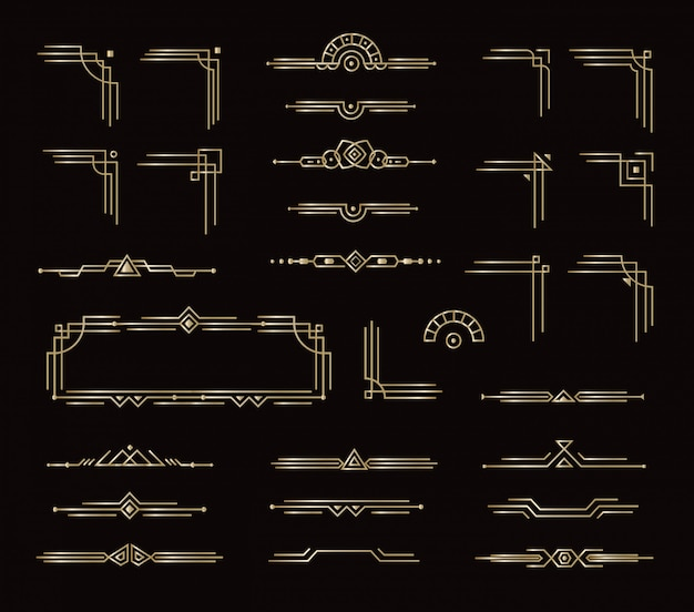 Set of elegant frames border dividers and other geometric decorative elements. golden vintage style card graphic elements for decor.  isolated royal style design on black background.
