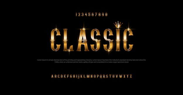 Set elegant gold colored alphabet font