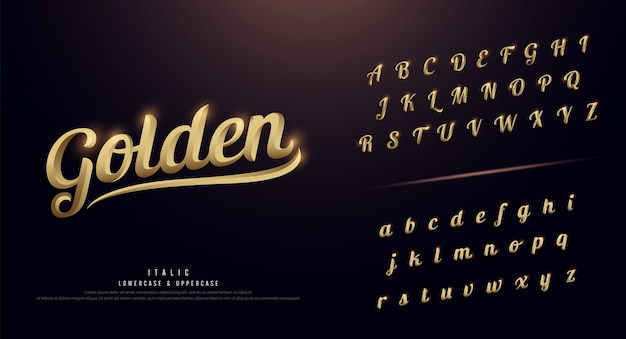Set of elegant gold colored metal chrome alphabet font