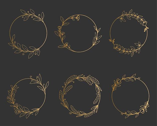 Set of elegant golden round frames