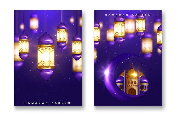 Set of elegant greeting cards decorated with crescent moon