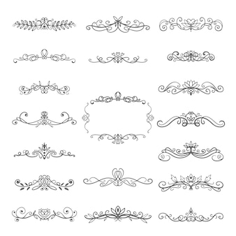 Set of elegant hand drawn dividers