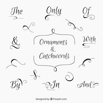 Set di eleganti carchwords scritte a mano con ornamenti
