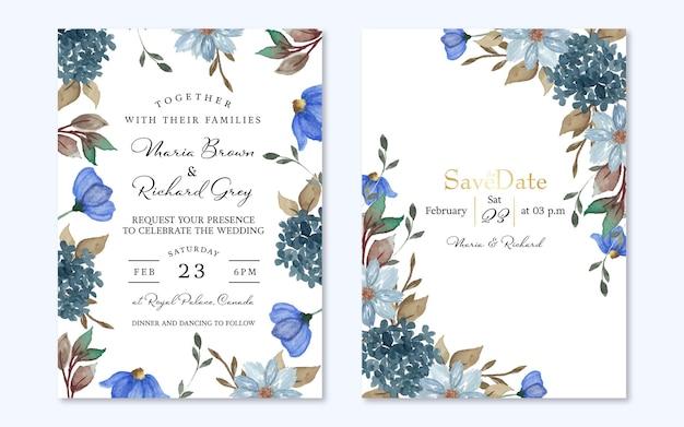 Set of elegant indigo blue rustic flowers wedding invitation
