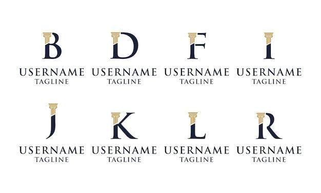 Set of elegant initial pillar, law firm, attorney logo  template