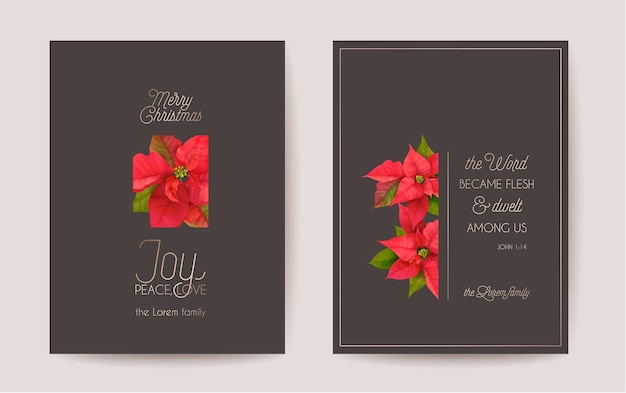 Set of elegant merry christmas and new year card with poinsettia realistic flowers, floral wreath. winter 3d plants design illustration for greetings, invitation, flyer, brochure, cover in vector