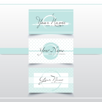 Set of elegant mint business card templates