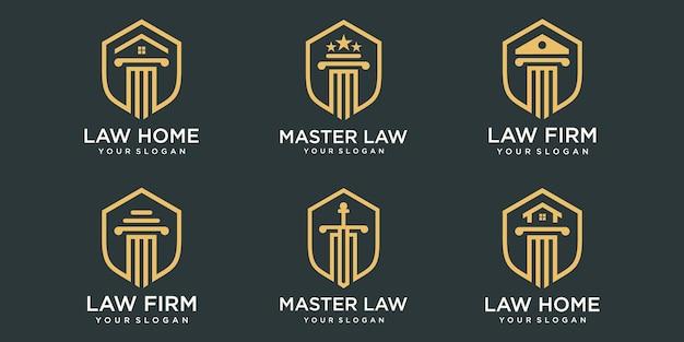 Set of elegant pillar, law firm, attorney logo design template