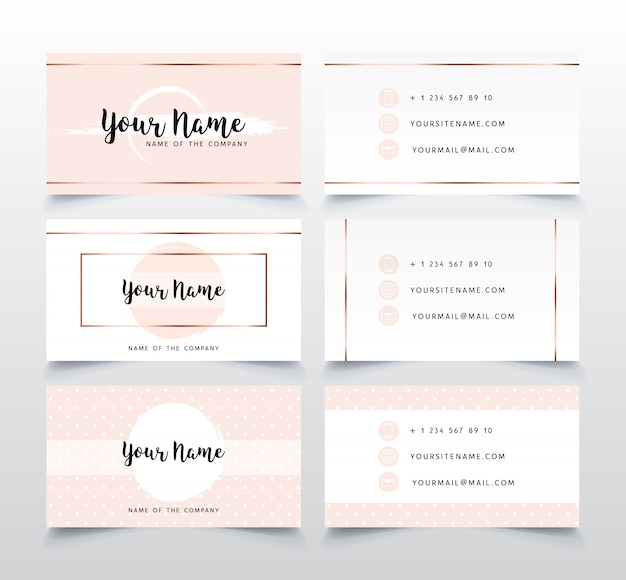 Set of elegant pink business card template.