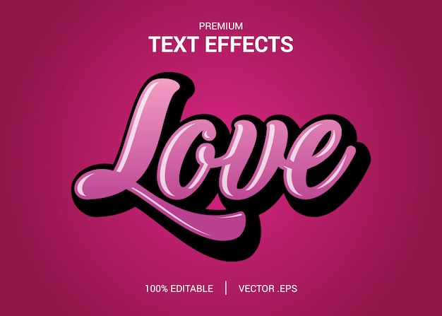Set elegant pink purple abstract love text style editable font effect