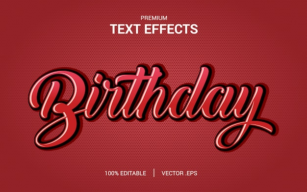 Set elegant pink purple red abstract birthday text style editable font effect