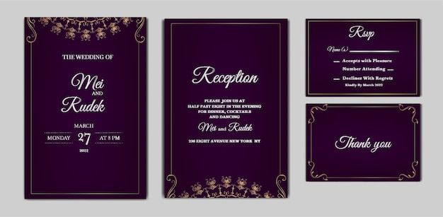 Set of elegant save the date wedding invitation card