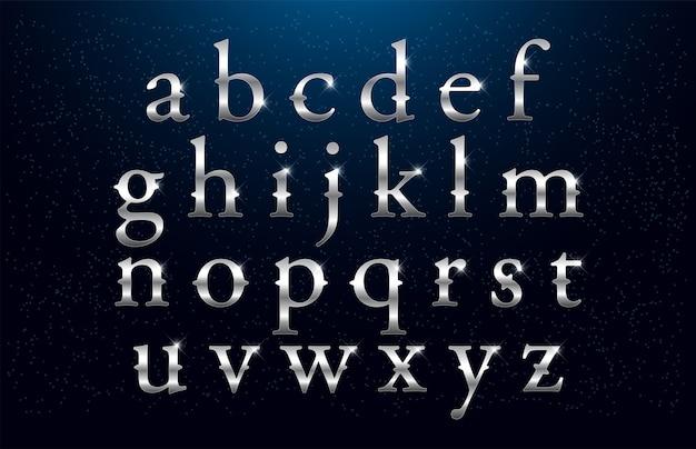 Set of elegant silver colored metal chrome alphabet