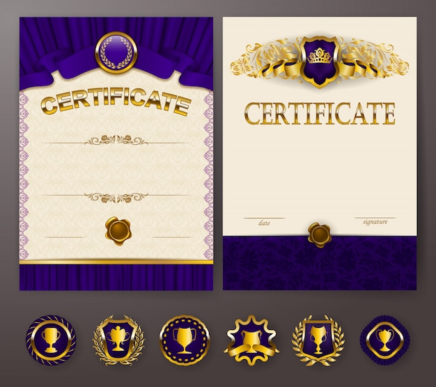 Set of elegant templates of diploma with lace ornament