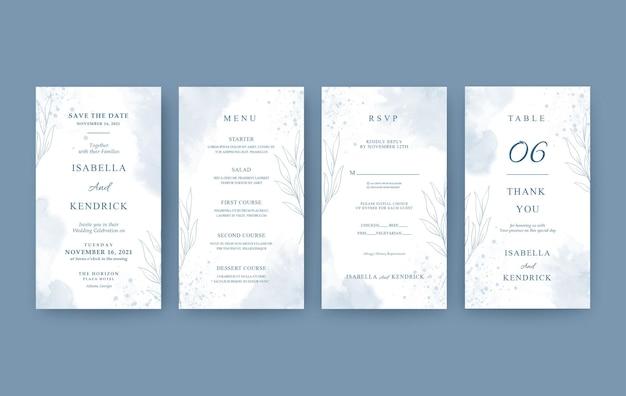 Set of elegant vertical wedding invitation