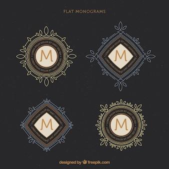 Set di monogrammi eleganti d'epoca