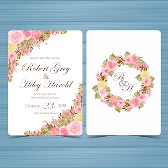 Set of elegant watercolor floral invitation template with beautiful flowers