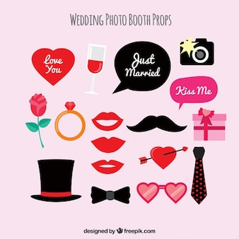 Set of elegant wedding accessories for photo booth