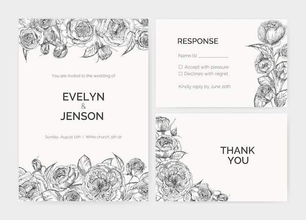 Set of elegant wedding invitation, response card and thank you note templates decorated by austin rose flowers hand drawn with contour lines on white background. romantic illustration.