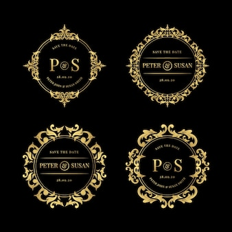 Set of elegant wedding logos Premium Vector