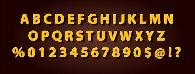 Set of elegant yellow honey bee alphabet font for logo, poster, invitation. vector illustration