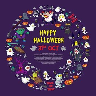 Set of element and character happy halloween cartoon vector