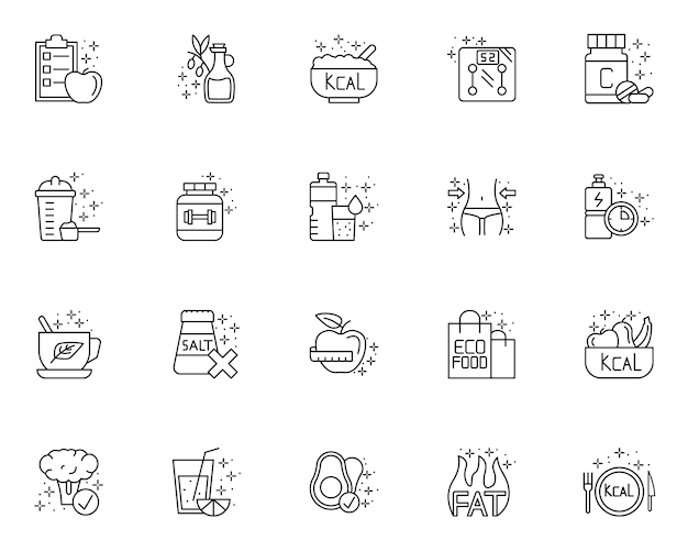 Set of element of diet outline icons