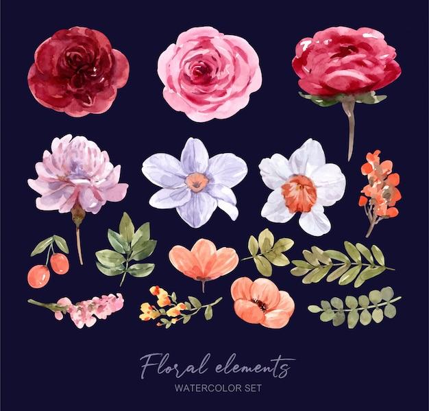 요소 꽃 수채화 설정