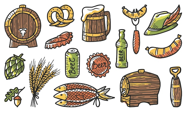 Set of elements for the brewery, including a beer, bear, hop, hat with a feather, barley, crumpled can and bottle