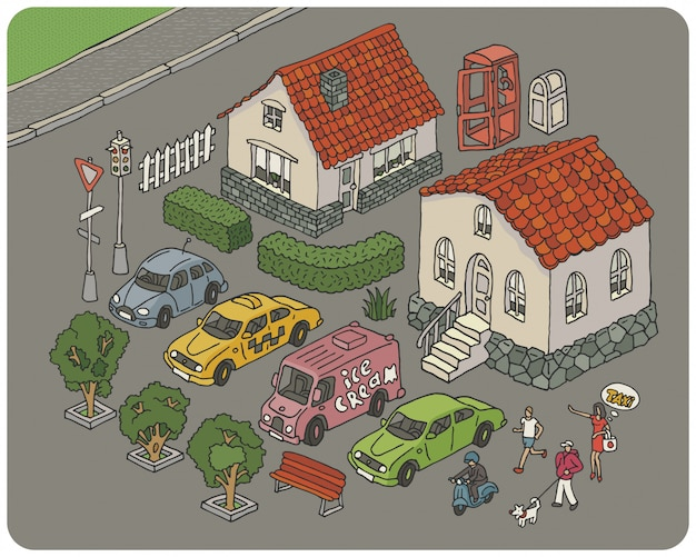 Set of elements of a cartoon city illustration