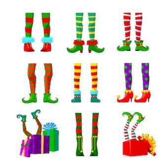Set of elements of cartoon elves legs, christmas design elements