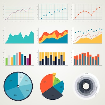 Set of elements chart for infographics graphs diagrams chart in color