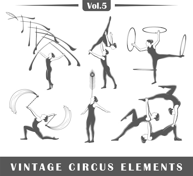 Set of elements of the circus isolated on white background.