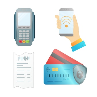 A set of elements for contactless payment. vector illustration.