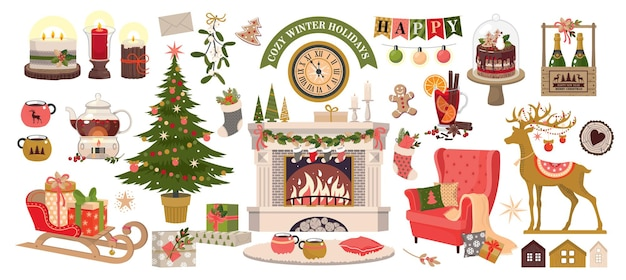 A set of elements for cozy winter holidays.vector, white background, isolated.