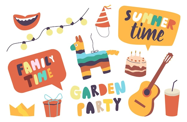Set of elements family garden party theme