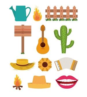 Set of elements of festa junina