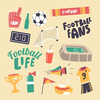 Set of elements football fans attribution theme