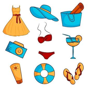 해변 휴가를 위한 요소를 설정합니다. 드레스, 가방, 모자, 칵테일, 자외선 차단제, 슬리퍼, 수영복, 사진 카메라, 구명 부표. 벡터 일러스트 레이 션 만화 스타일입니다.