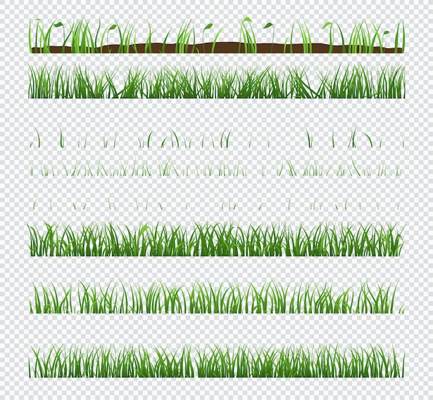 Set of elements green grass with plants isolated on transparent