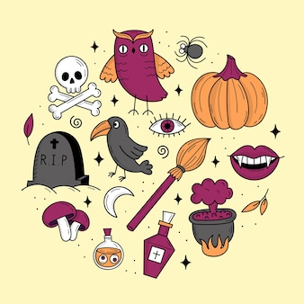 Set of elements for halloween cats pumpkins ghosts potion doodle style illustration