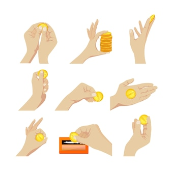 Set of elements hands with coins gesturing, scratching lottery ticket, holding pile and single coins isolated on white background