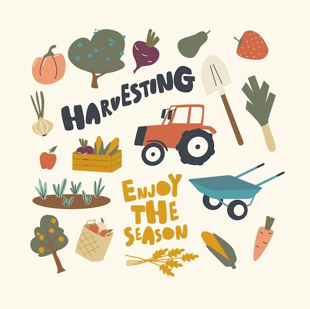 Set of elements harvesting theme