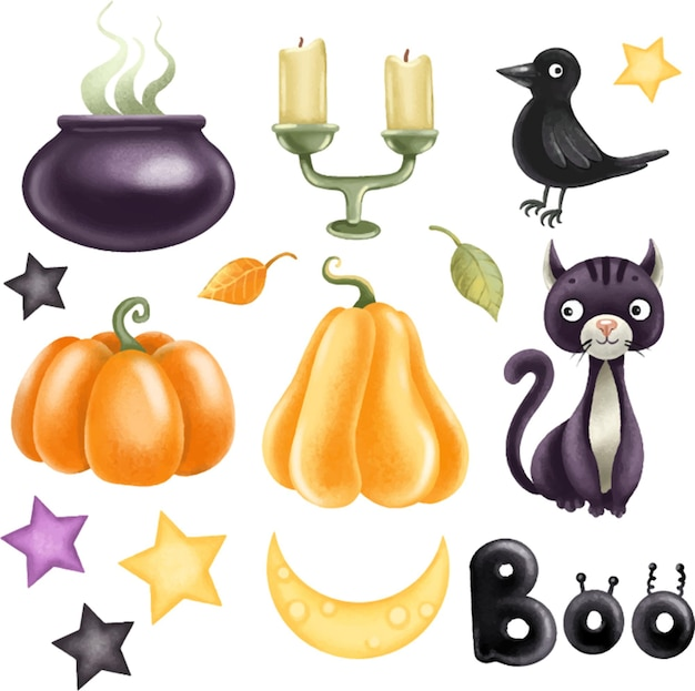 Set of elements for the holiday halloween