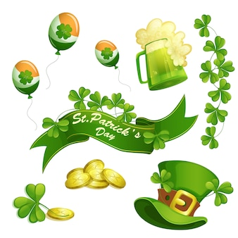 Set of elements for the holiday of st. patrick's day.