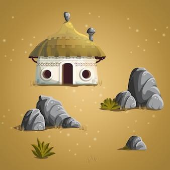 세트 요소 집, 돌, 관목, 잔디