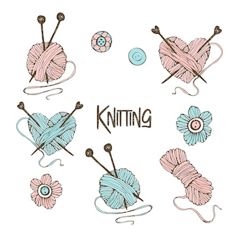 A set of elements for knitting. in the style of doodle.