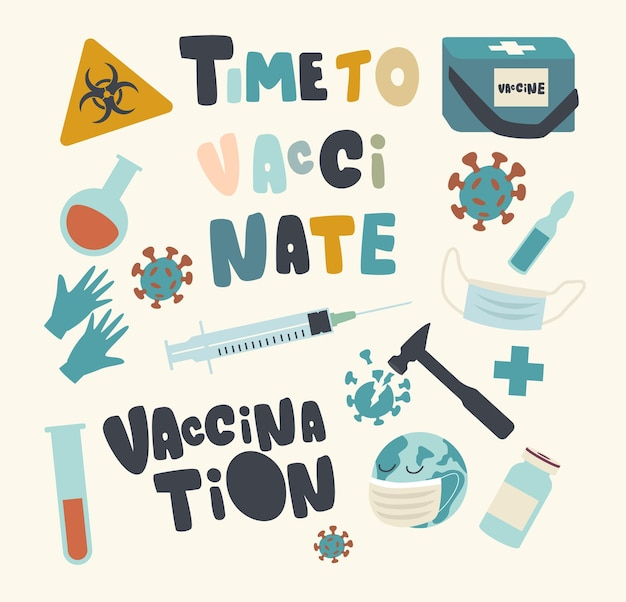 Set of elements of medical vaccination and health immunization theme