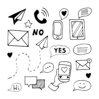 Set elements of message in doodle business set. hand drawn vector illustration for cards, posters, stickers and professional design.